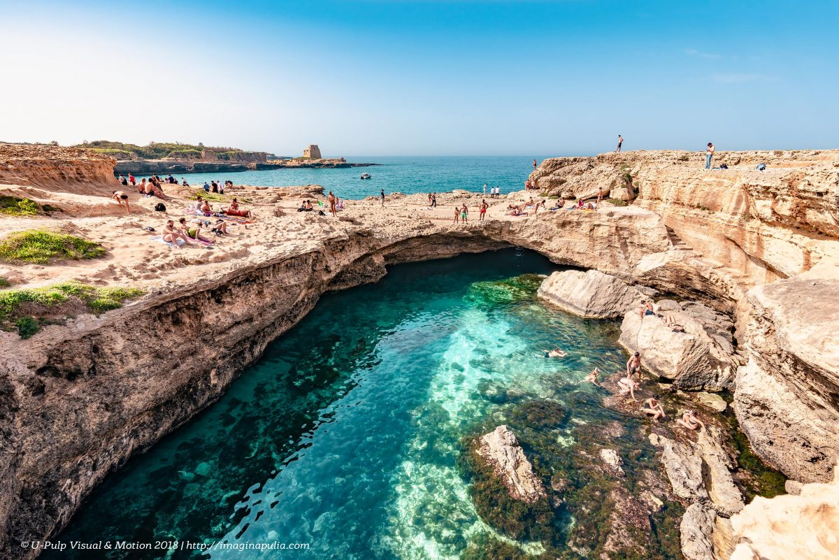 Panoramic view of The Poetry Cave with the sighting tower | Grotta della Poesia | Salento | Puglia