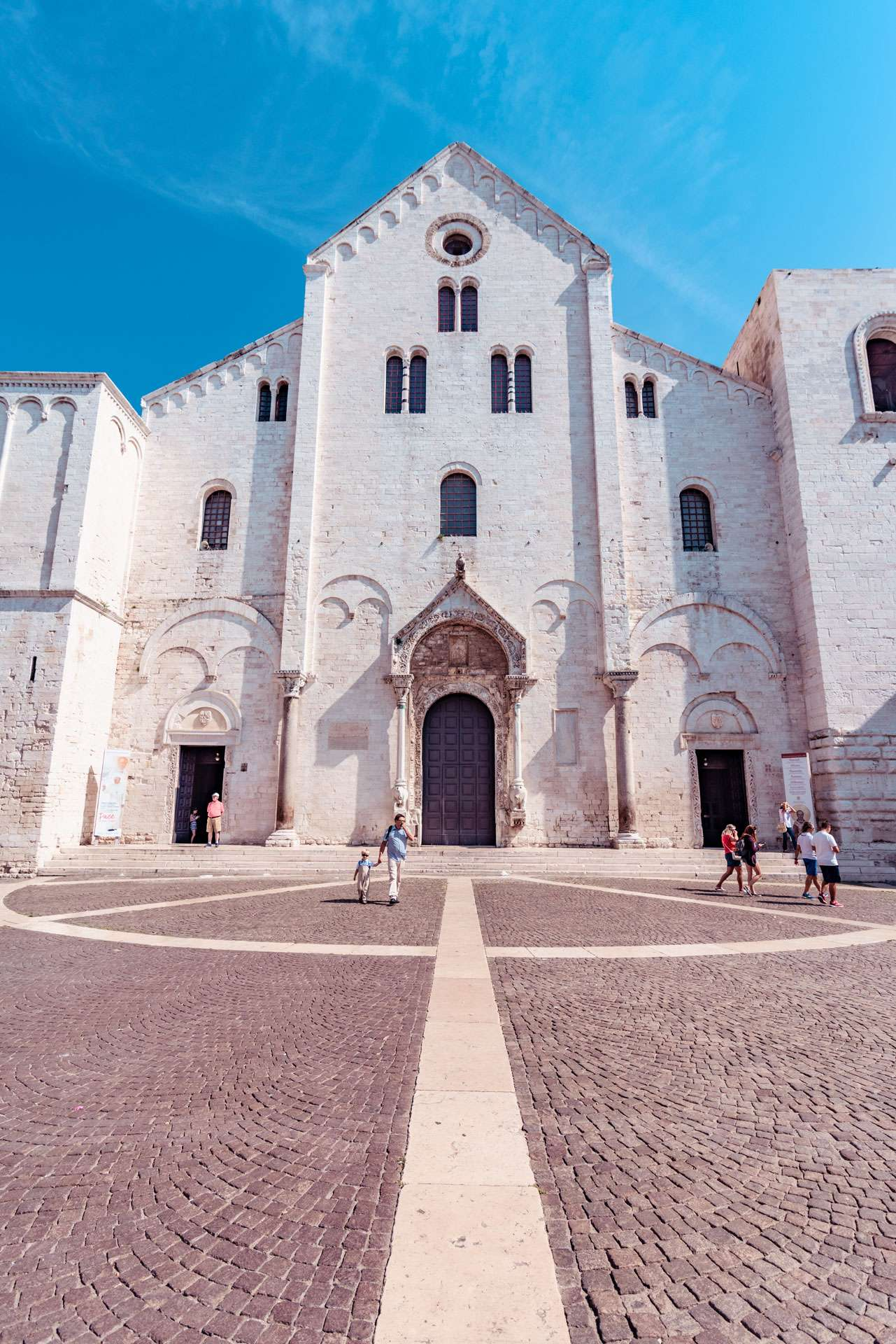 The facade of the Basilica of Saint Nicholas in the old town of Bari city.