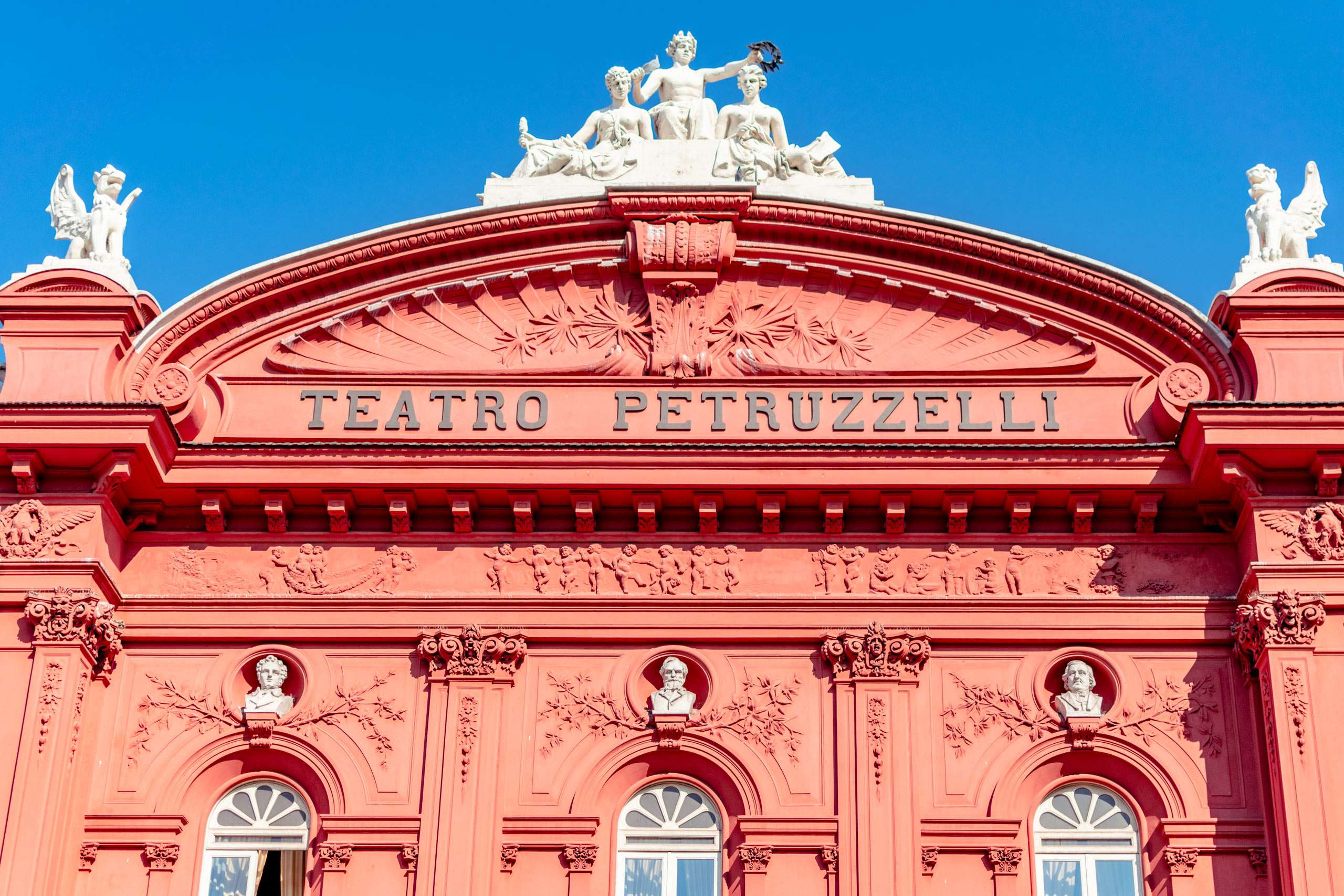 Detail of a Petruzzelli Theatre in the old town of Bari city.
