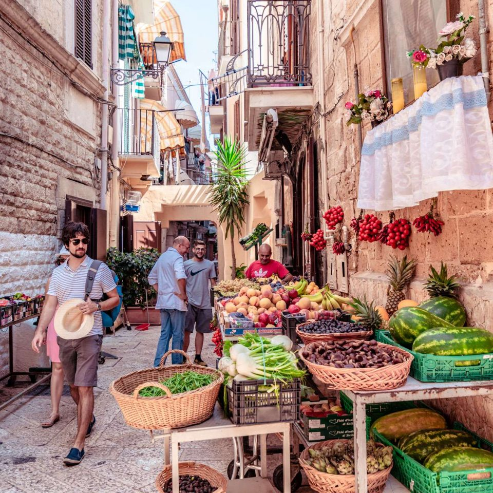 A greengrocer in the old town of Bari city.