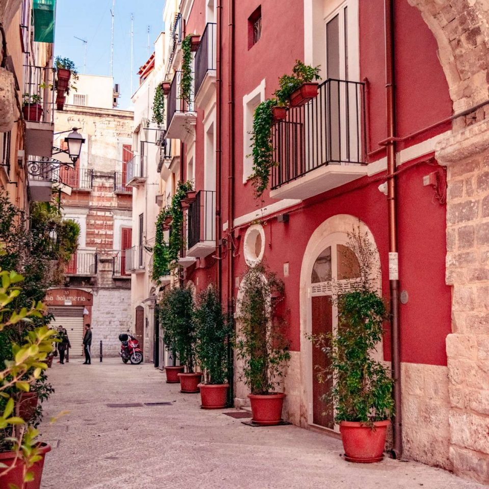 A narrow street in the old town of Bari city.