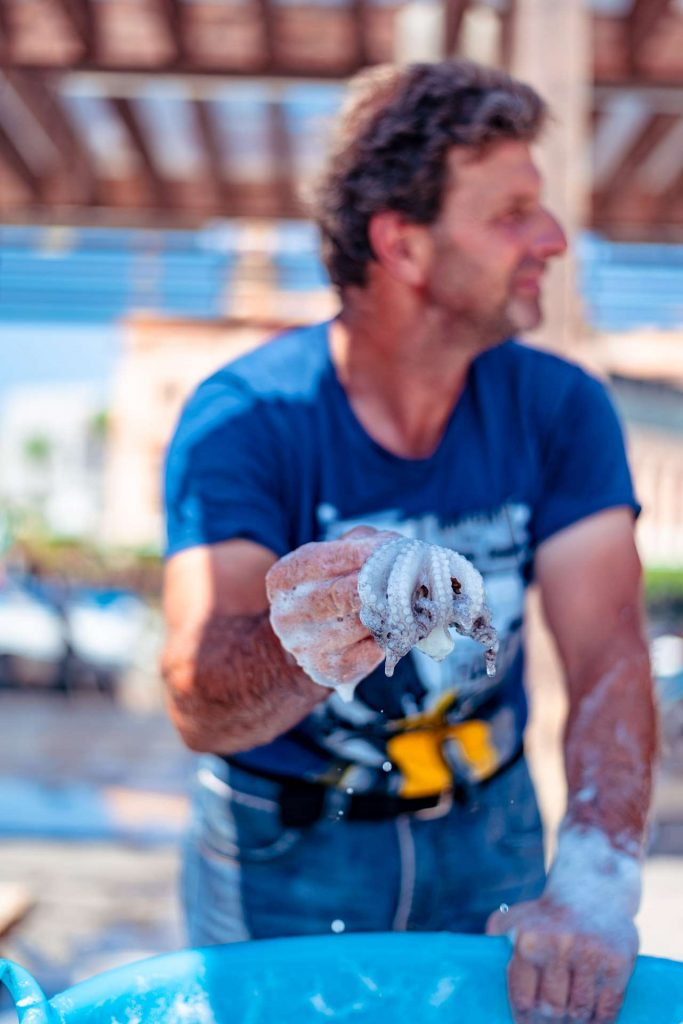 A raw octopus at the fish market at the jetty Saint Nicholas in Bari