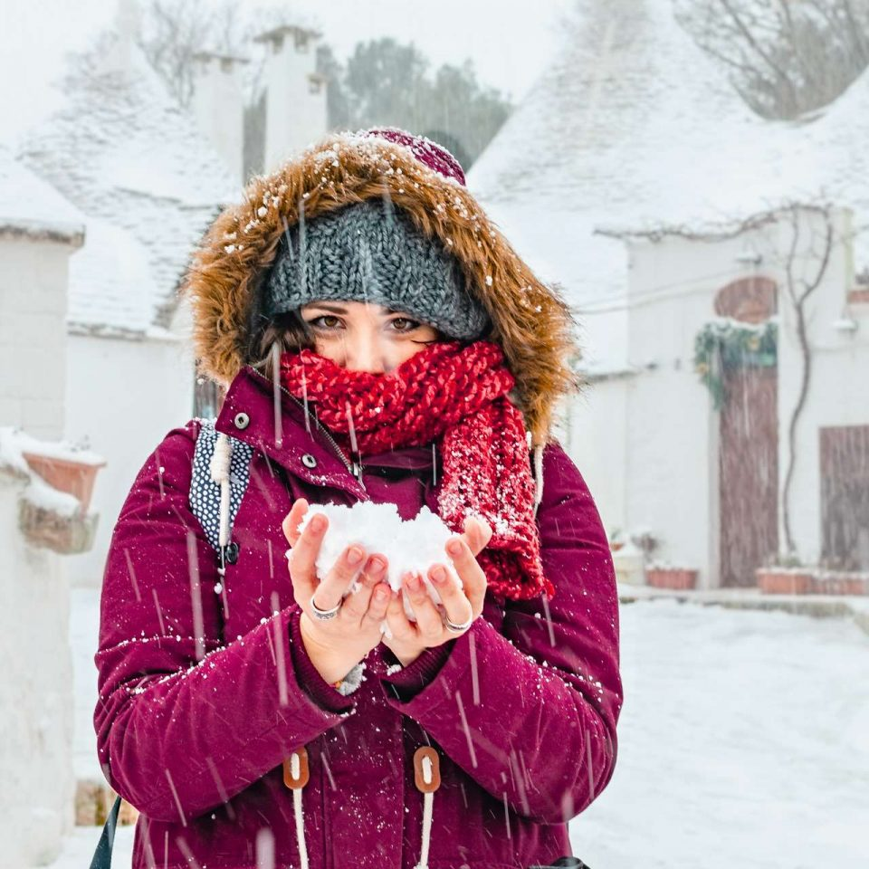 Daria with snow in Alberobello, Puglia