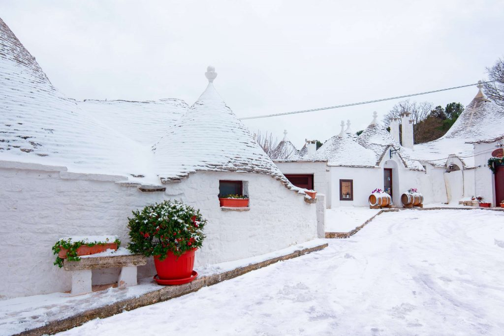 Panoramic view of a snowy day in Alberobello, Puglia