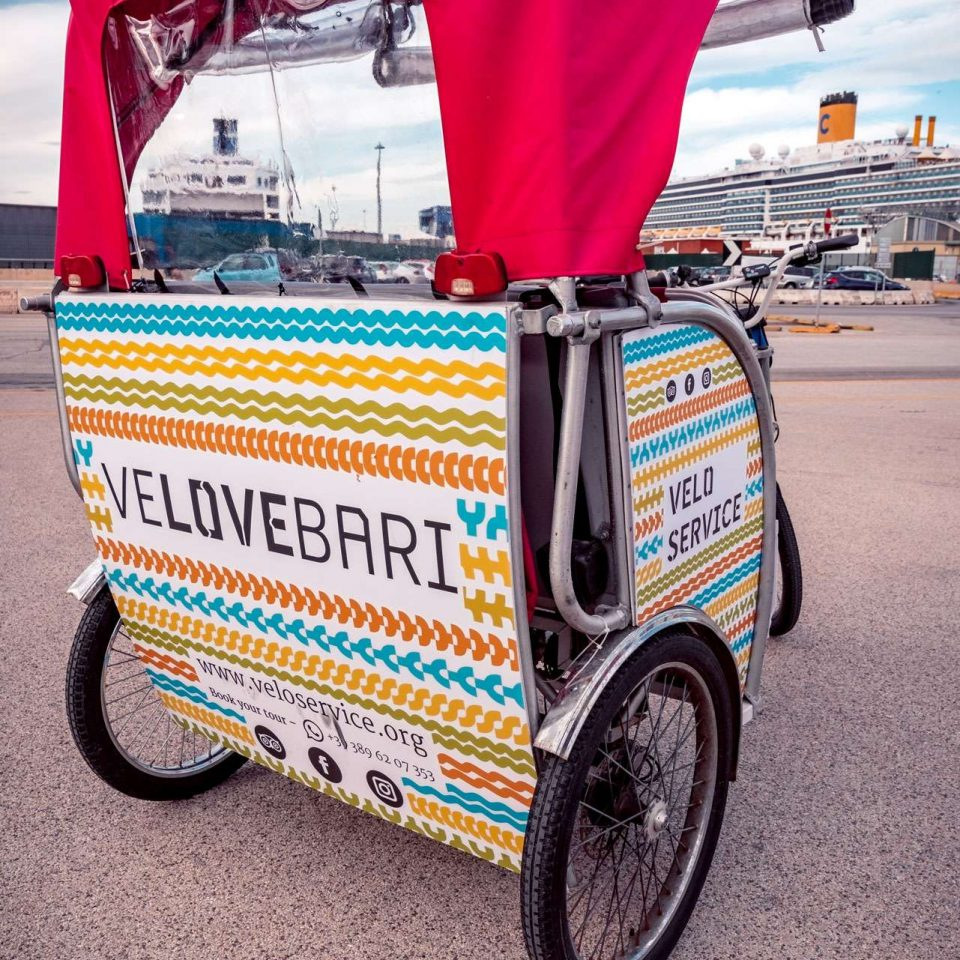 Puglia tours by rickshaw made by Velo Service from cruise terminal of Bari