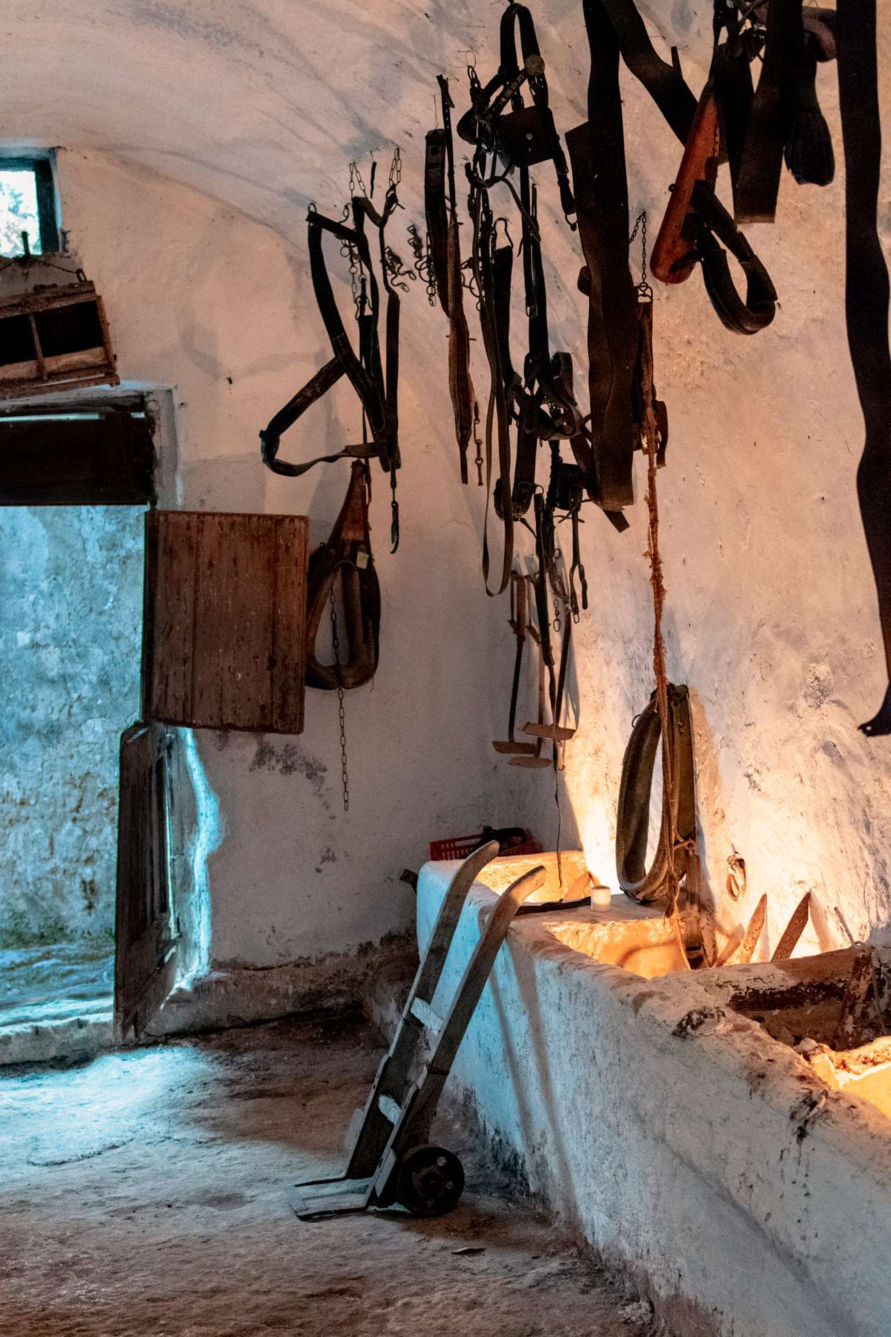 Horse equipment in the stable at Masseria Spina Resort in Puglia