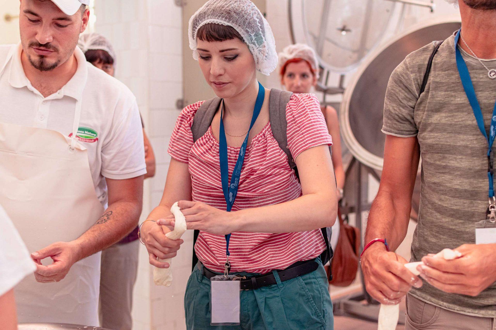 Daria making cheese during the Experience Tour in Orsara di Puglia
