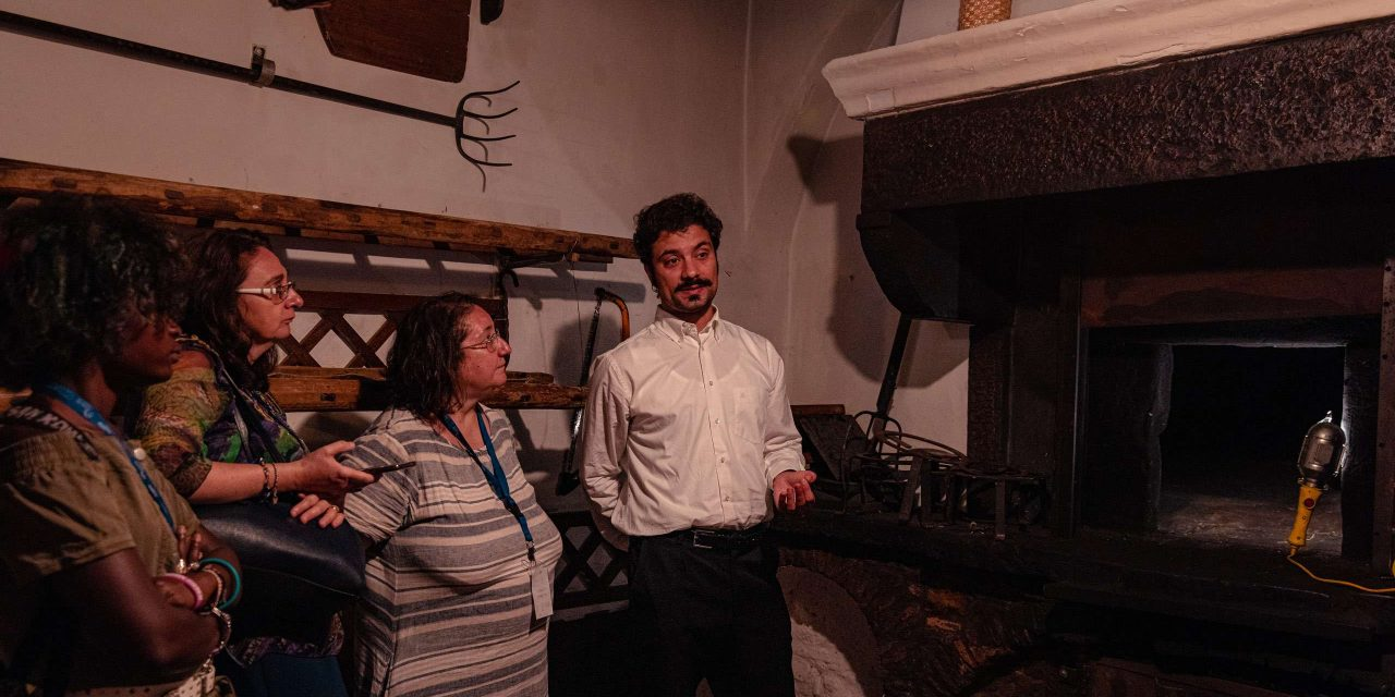 The wood burning oven at Pane e salute bakery in Orsara di Puglia